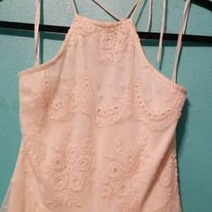 Cream lace halter dress